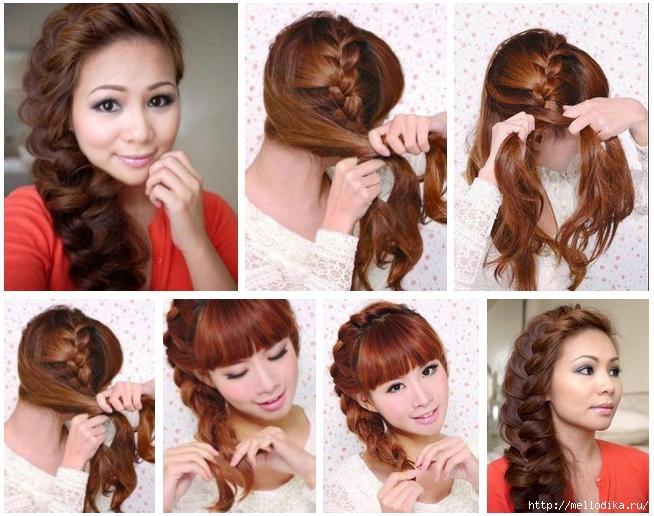 Как сделать косу на бок фото 802