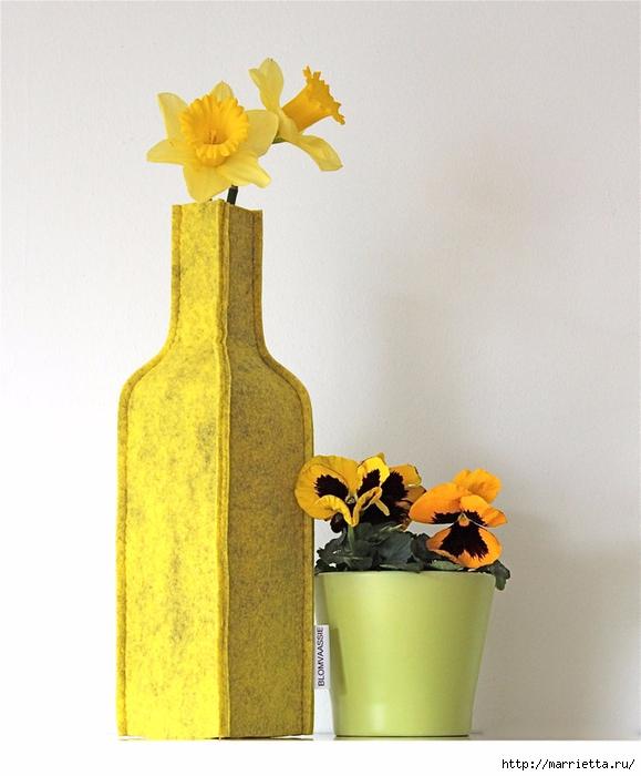 Войлочные вазы для цветов - чехлы на бутылки (5) (579x700, 240Kb)