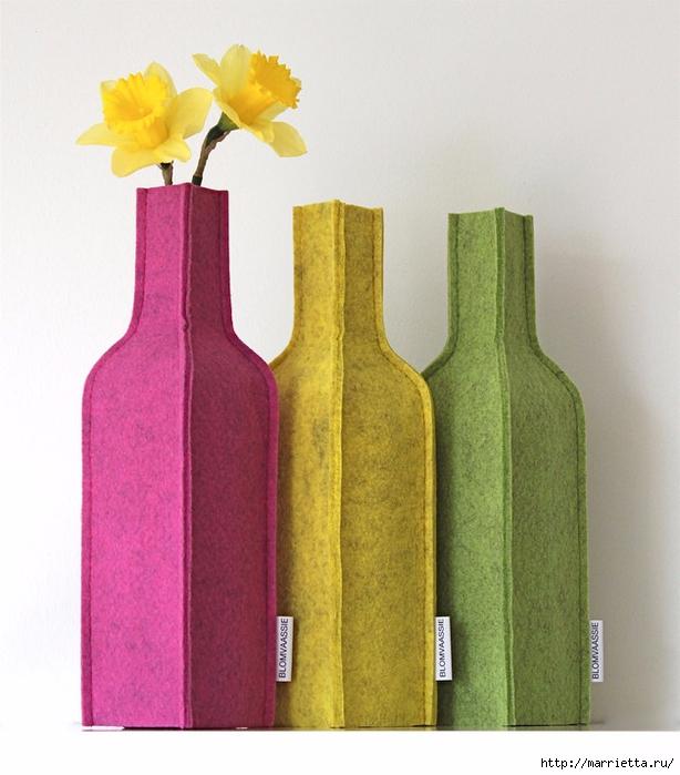 Войлочные вазы для цветов - чехлы на бутылки (9) (614x700, 270Kb)
