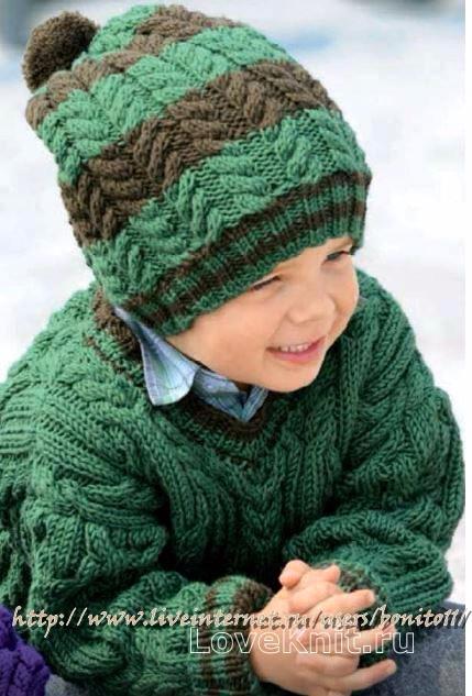 svyazat-obemnyy-detskiy-pulover-v-obraznym-vyrezom-shapka-pomponom-dlya-detey-foto (429x633, 255Kb)