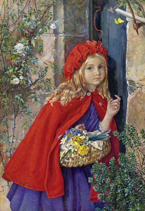 1_Isabel Naftel, раб в 1880-1891_Красная шапочка (Little Red Riding Hood)_55.5 х 39_бумага, акварель и гуашь_Частное собрание (483x700, 523Kb)