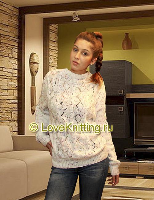02 Автор Узорчатый пуловер  1 МТ2 (500x648, 308Kb)