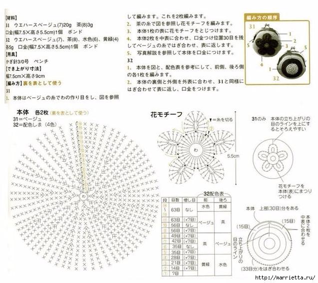 Кошельки крючком для фермуара. Схемы (2) (637x567, 240Kb)