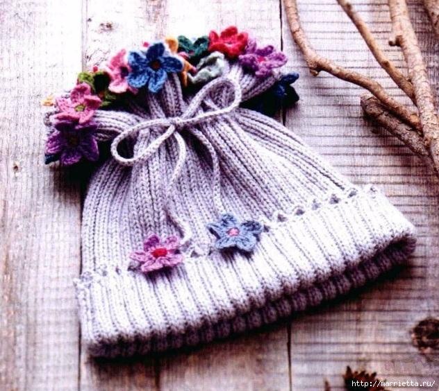 Шапочка с цветочками для девочки (1) (632x564, 297Kb)
