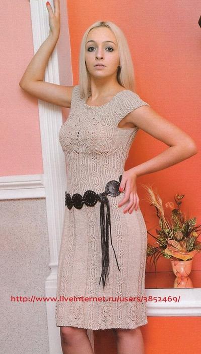 Бежевое платье из льняной пряжи спицами (399x700, 228Kb)