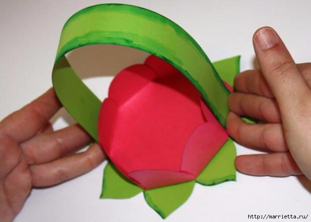 Корзинка из бумаги для пасхального яйца. Творчество с детьми (19) (620x443, 89Kb)