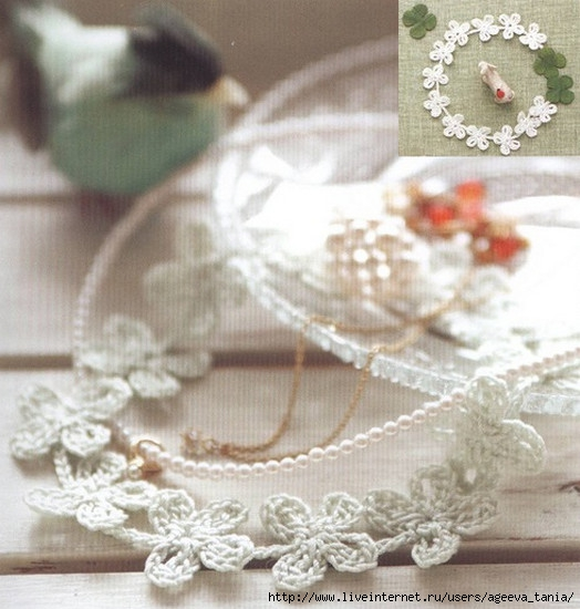 схема вязания тесьмы крючок цветами