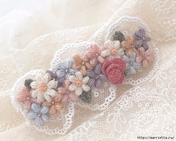 Нежные украшения из цветочков крючком пышными столбиками (1) (572x459, 161Kb)