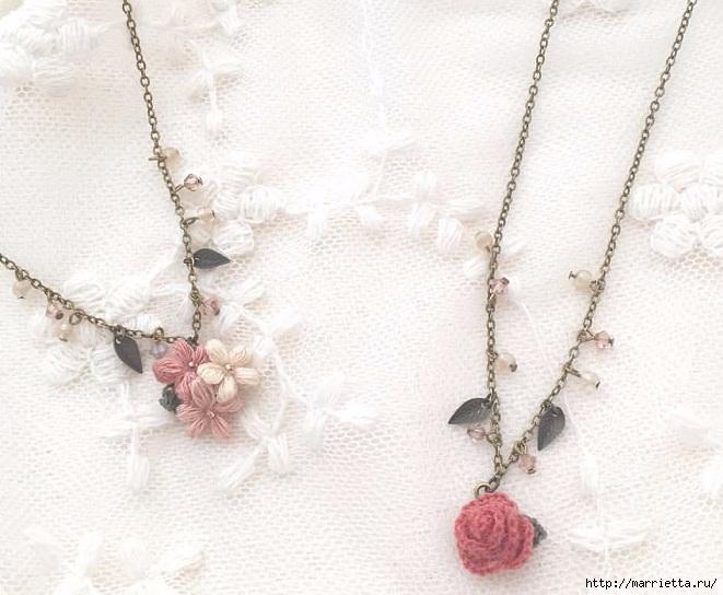 Нежные украшения из цветочков крючком пышными столбиками (3) (661x544, 202Kb)