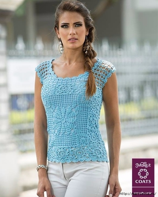 Очень красивая летняя блуза крючком (1) (518x643, 196Kb)