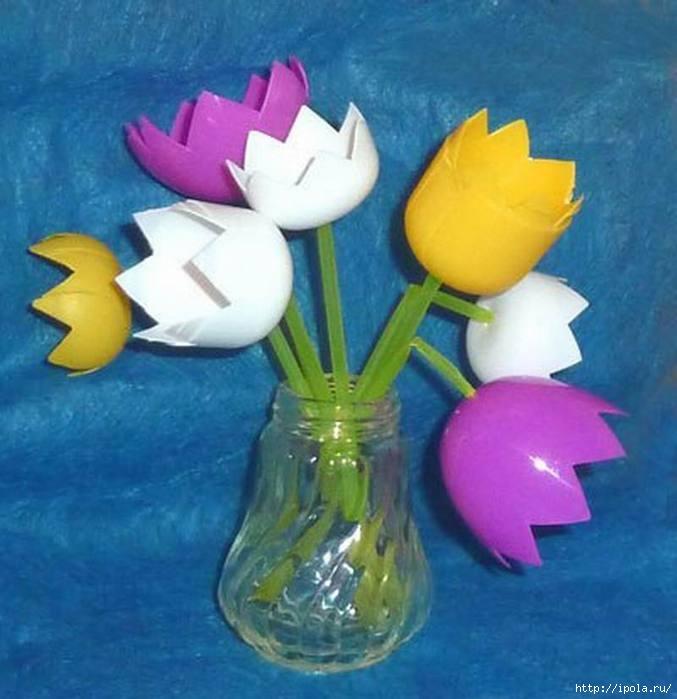 Тюльпаны из яиц от киндеров своими руками пошаговое фото