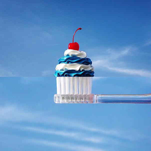 4. Пирожное + зубная щетка (605x605, 249Kb)