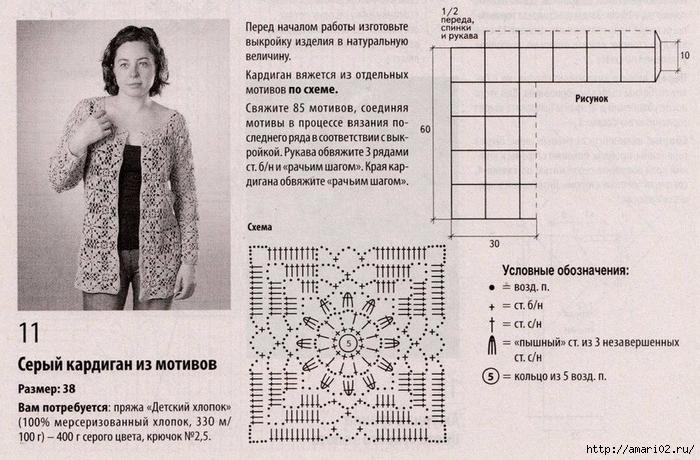 Кофты крючком из квадратов со схемами