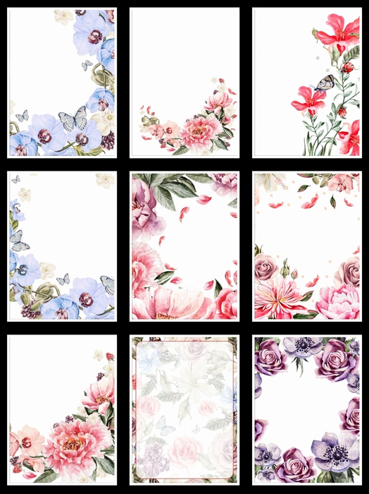 Фоны цветочные для оформления творческих работ, А4. 23  png. Часть 25.