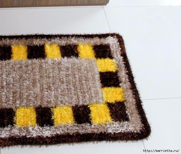 Пушистый коврик из пряжи травка (2) (600x512, 175Kb)