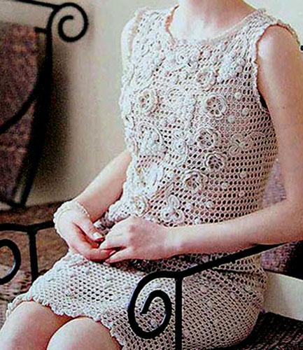 Вязание сетка платье крючком
