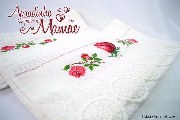 Розы на полотенце. Схемы вышивки (2) (600x398, 92Kb)