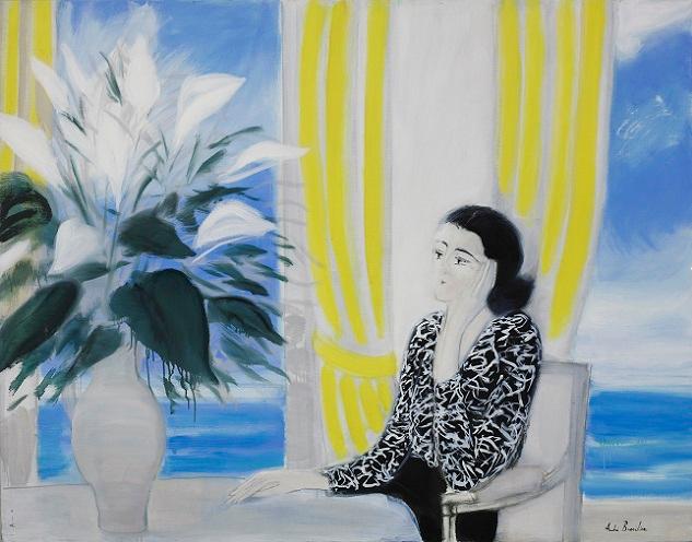 Les_rideaux_jaunes. Женщина-и-букет-цветов (633x496, 337Kb)