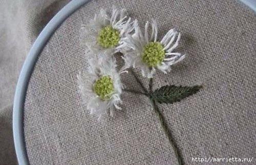 Объемная вышивка. Ромашки, одуванчики, хризантемы и мимоза (1) (500x322, 110Kb)