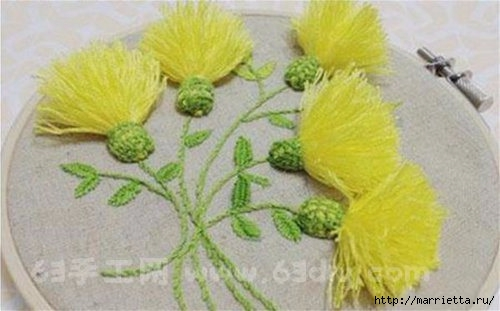 Объемная вышивка. Ромашки, одуванчики, хризантемы и мимоза (13) (500x311, 88Kb)