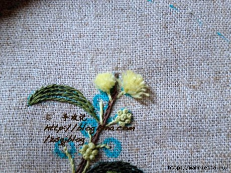 Объемная вышивка. Ромашки, одуванчики, хризантемы и мимоза (17) (460x346, 157Kb)
