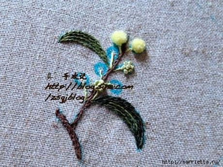 Объемная вышивка. Ромашки, одуванчики, хризантемы и мимоза (29) (460x346, 159Kb)