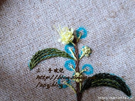 Объемная вышивка. Ромашки, одуванчики, хризантемы и мимоза (31) (460x345, 146Kb)