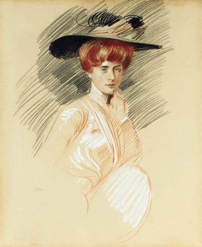 Paul-Cesar-Helleu-Elegant-woman-in-hat (400x489, 59Kb)