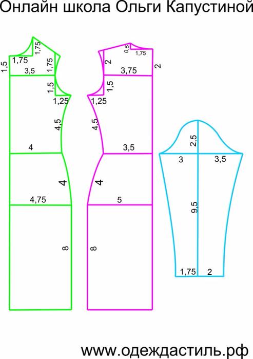 Построение выкроек трикотажного платья
