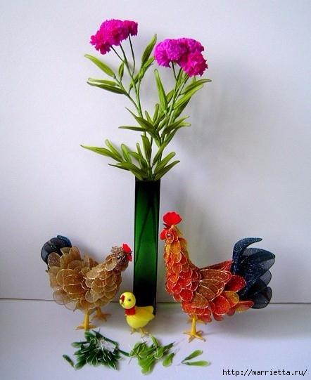 Петушки и птички из капрона. Идеи (16) (442x541, 150Kb)