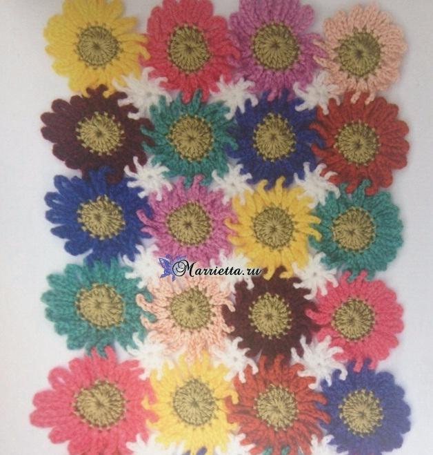 Разноцветный цветочный узор крючком для вязания пледа (2) (628x659, 397Kb)