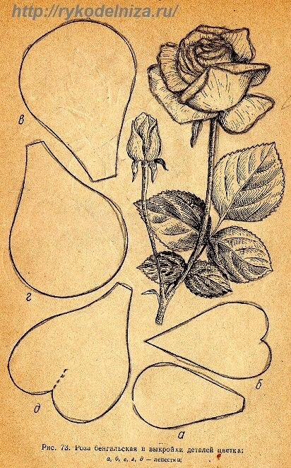 Как сделать розу из кожи схема