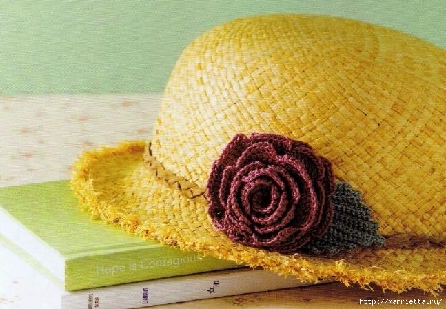 Цветы крючком - украшаем соломенную шляпку (1) (647x448, 267Kb)