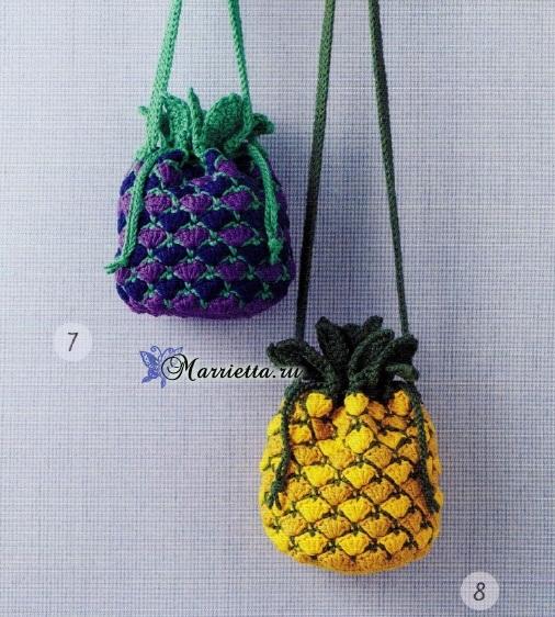 Ананас, лимон и арбуз - сумочки крючком для девочки (1) (506x562, 366Kb)
