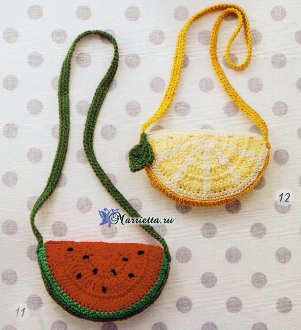 Ананас, лимон и арбуз - сумочки крючком для девочки (3) (593x651, 448Kb)