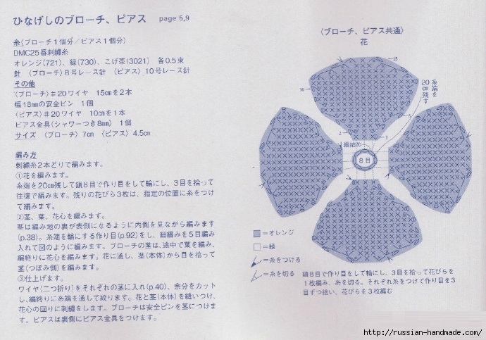 Сережки «красные маки» крючком. Схема (2) (690x483, 256Kb)