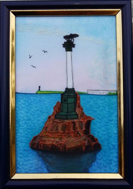 2. Батик. «Памятник затопленным кораблям, Севастополь» (446x632, 294Kb)