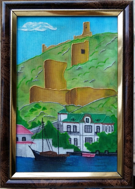 6. Батик. «Генуэзская крепость в Балаклаве» (453x632, 387Kb)