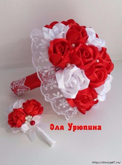 Свадебные букеты своими руками из атласных лент фото 922