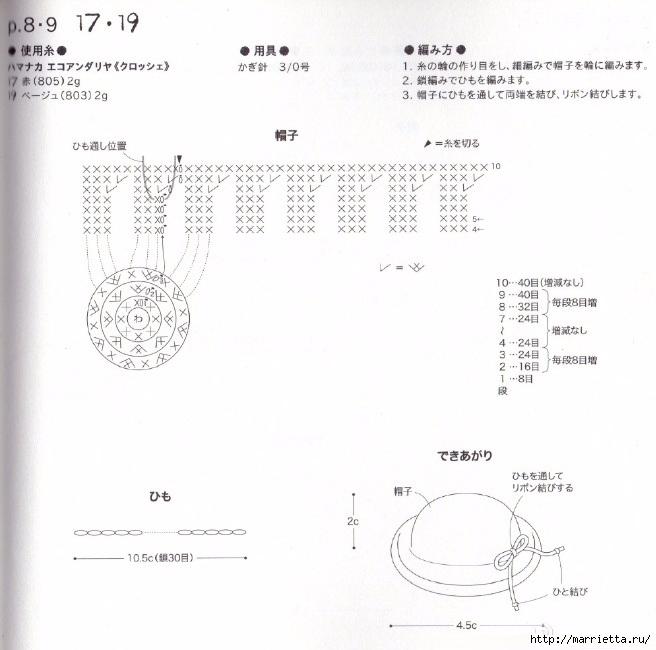 Схемы вязания шляпки и сумочки для куколки амигуруми (2) (656x650, 199Kb)