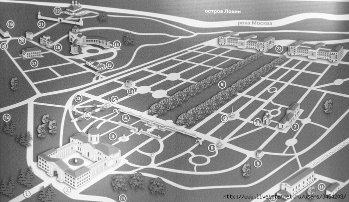 Рис.2.2.2.4 Современный вид усадьбы Архангельское. Копировали дворцовую усадьбу, находившуюся на восточном побережье Рижского залива (700x405, 239Kb)