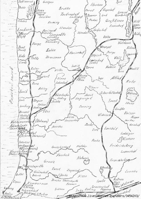 Рис.2.1.7.11 Восточное побережье Рижского залива, 1917 г. Узкоколейные железные дороги (494x700, 282Kb)
