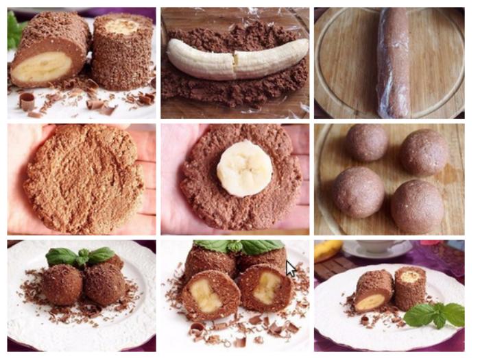 Бананы в вафельных коржах десерт