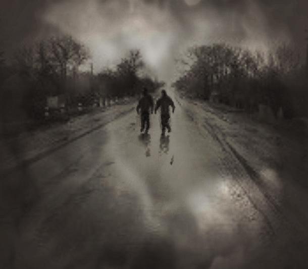 Лэн и Фер идут по дороге (610x532, 175Kb)