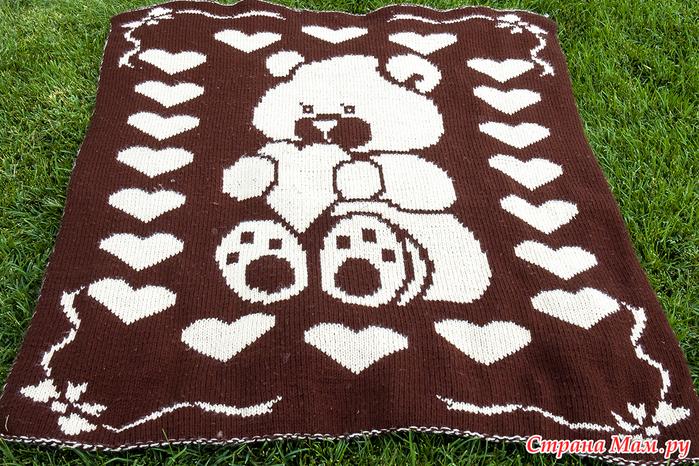 Двойное вязаное детское одеялко
