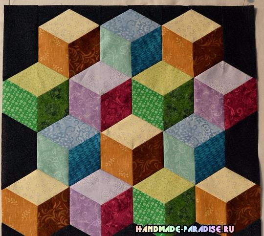 Лоскутное одеяло «Кубики» в технике пэчворк (1) (540x483, 307Kb)