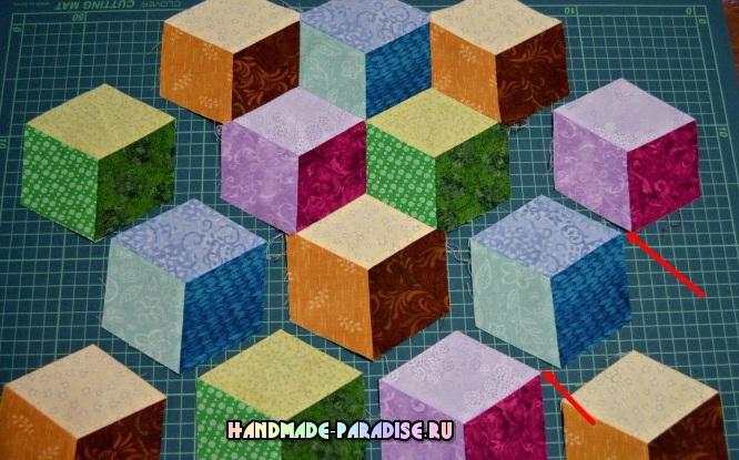 Лоскутное одеяло «Кубики» в технике пэчворк (19) (666x415, 332Kb)