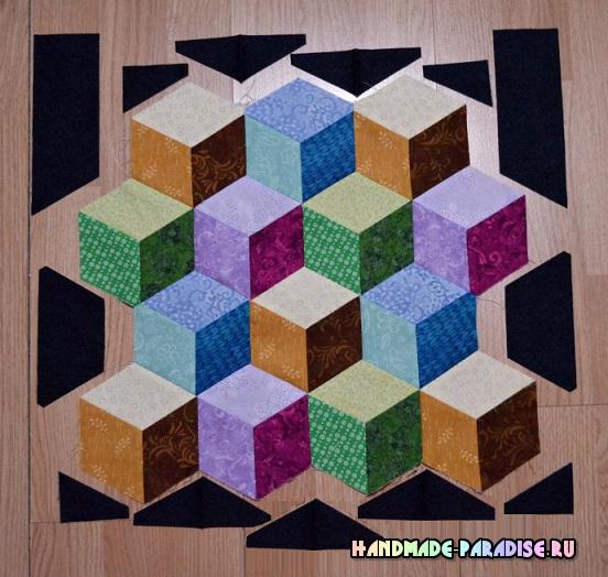 Лоскутное одеяло «Кубики» в технике пэчворк (29) (552x524, 308Kb)
