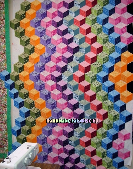 Лоскутное одеяло «Кубики» в технике пэчворк (37) (519x658, 466Kb)
