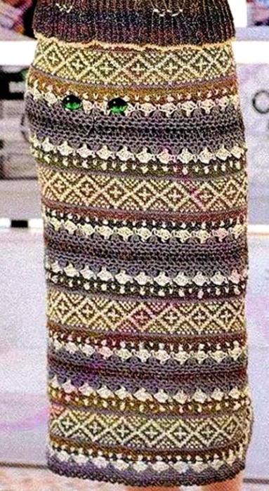 Жаккард крючком. Схемы вязания стильной юбки (5) (383x700, 355Kb)